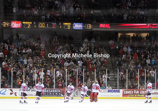Nebraska-Omaha celebrates a goal with .1 remaining in the second period. (Photo by Michelle Bishop)