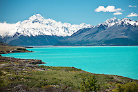 Mount Cook rises above Lake Pukaki in Mount Cook National Park near Twizel on New Zealand's South Island.