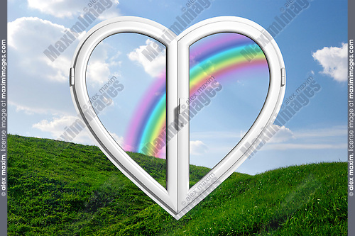 Rainbow behind a heart-shaped window