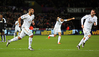 Ashley Williams of Swansea celebrates after scoring with a header during the Barclays Premier League match between Swansea City and Watford at the Liberty Stadium, Swansea on January 18 2016