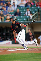 Rochester Red Wings third baseman Leonardo Reginatto (11) at bat during a game against the Buffalo Bisons on August 25, 2017 at Frontier Field in Rochester, New York.  Buffalo defeated Rochester 2-1 in eleven innings.  (Mike Janes/Four Seam Images)