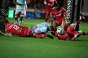 29th September 2017, Parc y Scarlets, Llanelli, Wales; Guinness Pro14 Rugby, Scarlets versus Connacht; Jack Carty of Connacht crosses the try line to score Connacht's 1st try in the 9th minute