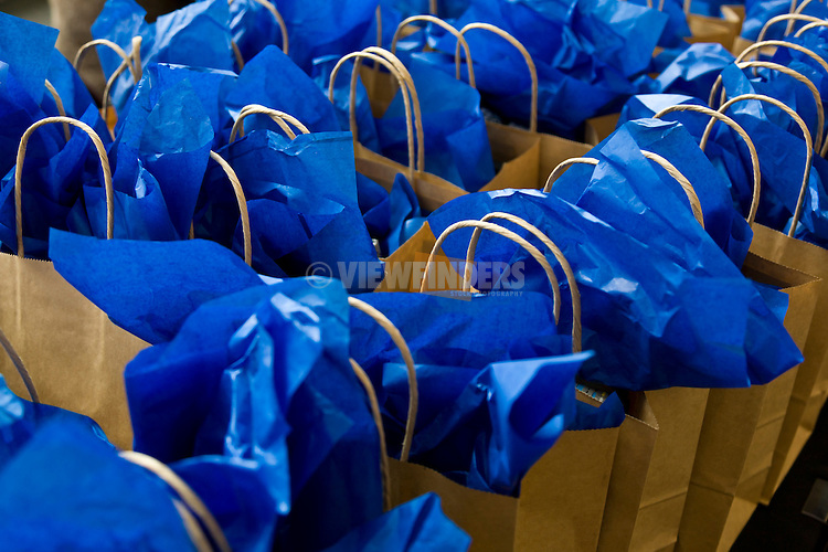 Stuffed bags for gifts at an event.