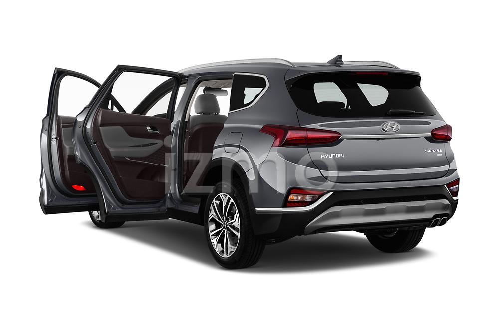 Car images close up view of a 2019 Hyundai Santa FE Shine 5 Door SUV doors