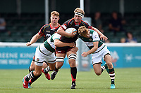 Nic Cudd of the Dragons takes on the Ealing Trailfinders defence. Pre-season friendly match, between Ealing Trailfinders and the Dragons on August 11, 2018 at the Trailfinders Sports Ground in London, England. Photo by: Patrick Khachfe / Onside Images