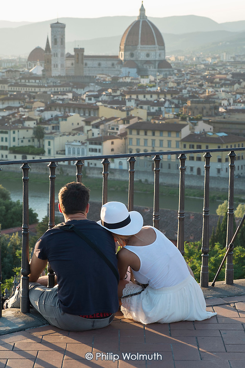 View of the city and Duomo cathedral from Piazzale Mchelangelo, Florence, Italy.