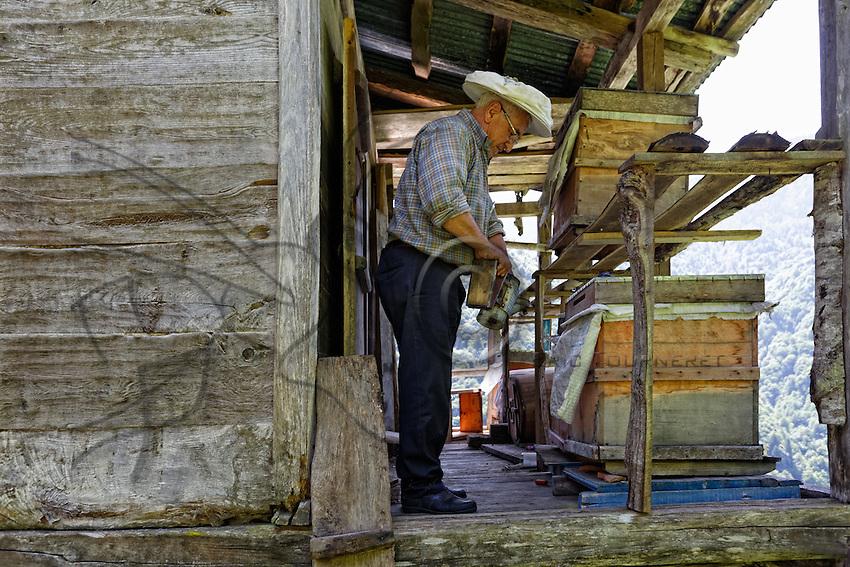 In the village of Senyuva, Atilla Guneri in his chalet on piles inspects his modern hives. ///Au village de Senyuva, Atilla Guneri dans son chalet sur pilotis inspecte ses ruches modernes.