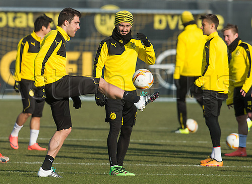 09.03.2016. Dortmund, Germany.  Dortmund's Sokratis (l) and Ilkay Guendogan in action during practice at the training ground in Dortmund, Germany, 9 March 2016. Dortmund meets Tottenham Hotspur in Dortmund,Germany, 9 March 2016. Borussia Dortmund meets Tottenham Hotspur in the Europe League round of sixteen soccer match on 10 March 2016.
