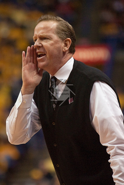 March 5,  2010            Indiana State head coach Kevin McKenna yells in to his team in the first half.    Illinois State played Indiana State in Game 6 of the Missouri Valley Conference Tournament at the Scottrade Center in downtown St. Louis on Friday March 5, 2010.