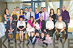 DOUBLE JOY: Proud parents Angelina and Johnny Moriarty, Rock Park, Avenue, Tralee of twins Kayla and Darragh who were Christened by Fr Patsy Lynch at the St Brendan's Church, Tralee and celebrating afterwards with family and friends at the Ballyroe Heights hotel on Saturday front l-r: Jayden Moriarty, Alanna Moriarty, Nicola Lehane and Nell Moriarty. Seated l-r: Ernie and Theresa Lehane, Angelina, Kayla, Johnny (jnr), Darragh, Nora and Johnny (snr) Moriarty. Back l-r: Elaine Lehane, Antoinette Hurley, Eric Lehane, Fiona Hobbert, Francis Hobbert, Philip Lehane, Mary Lehane, Oliver Moriarty, Timmy Moriarty, Helen Ryan, Breda Moriarty-O'Connell and Des O'Connell.