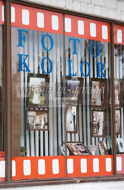 Europe/Pologne/Lodz: détail vitrine d'un photographe