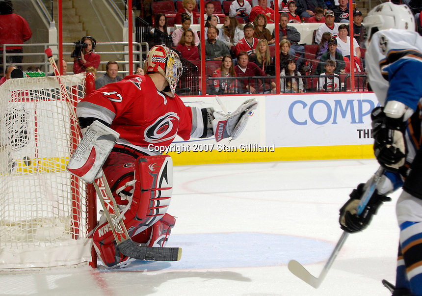 Carolina Hurricanes' goalie John Grahame can't stop a shot from the Washington Capitals' Alexander Ovechkin Thursday, March 22, 2007 at the RBC Center in Raleigh, NC. Carolina won 4-3.