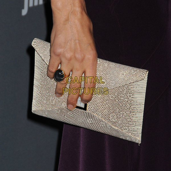 Famke Janssen's bag.15th Annual Costume Designers Guild Awards held at the Beverly Hilton Hotel, Beverly Hills, California, USA..February 19th, 2013.detail hand ring black beige white snakeskin print clutch .CAP/ADM/BP.©Byron Purvis/AdMedia/Capital Pictures.