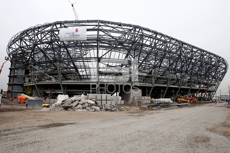 An exterior view of Red Bull Arena during the topping off ceremony at Red Bull Arena in Harrison, NJ, on April 14, 2009.