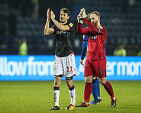 Bolton Wanderers' Will Buckley and Ben Alnwick applaud their travelling fans at the end of the match<br /> <br /> Photographer Andrew Kearns/CameraSport<br /> <br /> The EFL Sky Bet Championship - Sheffield Wednesday v Bolton Wanderers - Tuesday 27th November 2018 - Hillsborough - Sheffield<br /> <br /> World Copyright &copy; 2018 CameraSport. All rights reserved. 43 Linden Ave. Countesthorpe. Leicester. England. LE8 5PG - Tel: +44 (0) 116 277 4147 - admin@camerasport.com - www.camerasport.com