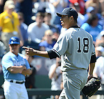Hiroki Kuroda (Yankees),.MAY 12, 2013 - MLB :.Hiroki Kuroda of the New York Yankees argues with the home plate umpire (not pictured) after being pulled in the eighth inning during the baseball game against the Kansas City Royals at Kauffman Stadium in Kansas City, Missouri, United States. (Photo by AFLO)