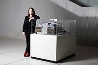Pattie Maes is the director of the Fluid Interfaces Group at MIT's Media Lab in Cambridge, Massachusetts, seen here on Tues., April 25, 2017. Maes is a professor in and department head of MIT's Department of Media Arts and Sciences.  She is seen here with a LEGO model of the Media Lab building.