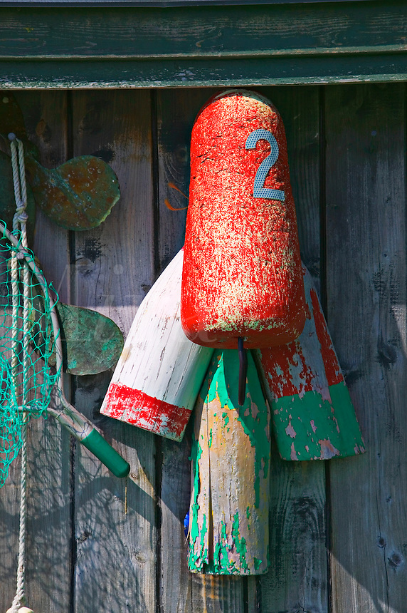 Lobster floats, fishing gear, old shack, Canada
