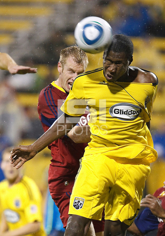 24 APRIL 2010:  Real Salt Lakes' Nat Borchers (6) and Andy Iro of the Columbus Crew (6) during the Real Salt Lake at Columbus Crew MLS soccer game in Columbus, Ohio. Columbus Crew defeated RSL 1-0 on April 24, 2010.