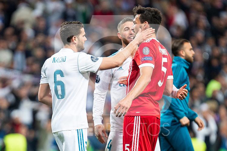 Real Madrid Nacho Fernandez and Sergio Ramos and Bayern Munich Mats Hummels during Semi Finals UEFA Champions League match between Real Madrid and Bayern Munich at Santiago Bernabeu Stadium in Madrid, Spain. May 01, 2018. (ALTERPHOTOS/Borja B.Hojas)
