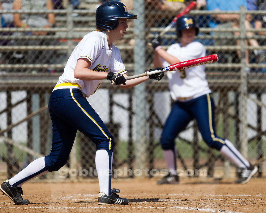 The University of Michigan's softball team defeated Notre Dame 2-1 in the 2012 Judy Garmin Classic at the Titan Softball Complex in Fullerton, Calif., on March 15, 2012.