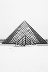 Paris, France. December 17th 2009..Snow Storm in Paris..Pyramide du Louvre - Cour Napoleon (1st Arrondissement)