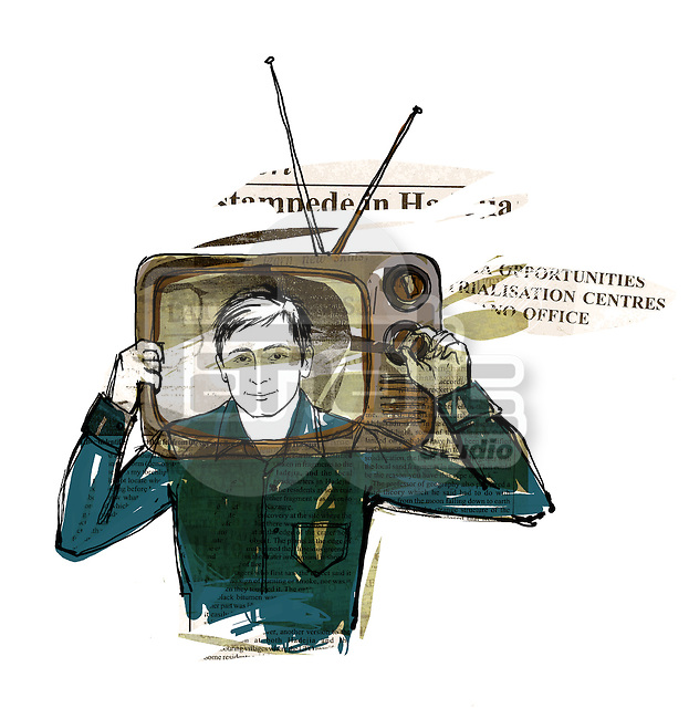 Illustration of news reader with head in television over white background