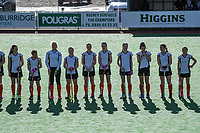 The Hawkes Bay team lines up before the National Women's Association Under-18 Hockey Tournament 5th place playoff match between Wellington and Hawkes Bay at Twin Turfs in Clareville, New Zealand on Saturday, 15 July 2017. Photo: Dave Lintott / lintottphoto.co.nz