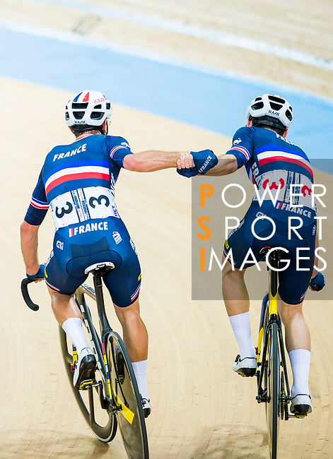 Morgan Kneisky and Benjamin Thomas of France celebrate winning in the Men's Madison 50 km Final during the 2017 UCI Track Cycling World Championships on 16 April 2017, in Hong Kong Velodrome, Hong Kong, China. Photo by Marcio Rodrigo Machado / Power Sport Images