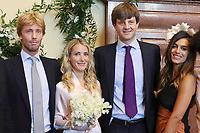 Mariage civil du Prince Ernst junior de Hanovre et de Ekaterina Malysheva, &agrave; l' h&ocirc;tel de ville de Hanovre.<br /> Allemagne, Hanovre, 6 juillet 2017.<br /> Civil wedding of Prince Ernst Junior of Hanover and Ekaterina Malysheva at the new Town Hall in Hanover.<br /> Germany, Hanover, 6 july 2017<br /> Pic : Prince Christian of Hanover, Ekaterina Malysheva, Prince Ernst Junior of Hanover and Dina Amer <br /> Pool photos