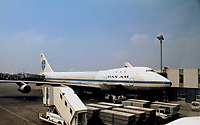 Heathrow,, England, May, 1973<br /> Pan-Am 747 at loading gate at Heathrow airport.  Heathrow Airport  is a major international airport in west London, England. Heathrow is the busiest airport in the United Kingdom, busiest airport in Europe by passenger traffic, and third busiest airport in the world by total passenger traffic. Credit: Mark Reinstein/MediaPunch