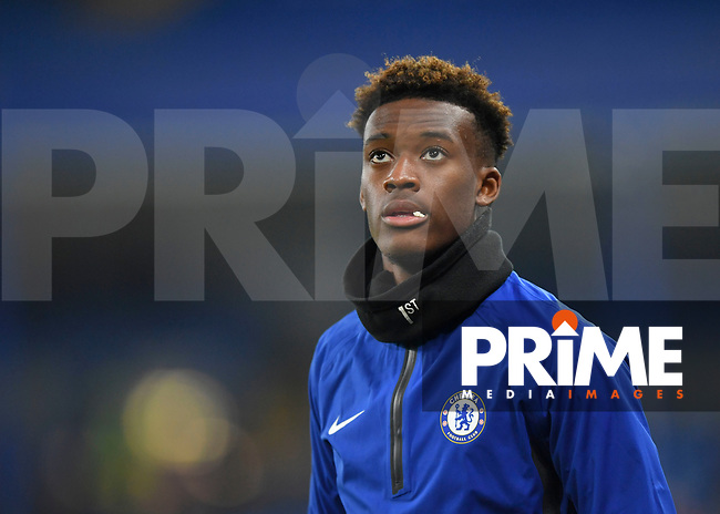 Callum Hudson-Odoi of Chelsea warms up during the Carabao Cup Semi-Final 2nd leg match between Chelsea and Tottenham Hotspur at Stamford Bridge, London, England on 24 January 2019. Photo by Vince  Mignott / PRiME Media Images.