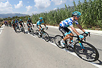Jakob Fuglsang (DEN) Astana Pro Team wearing the Polka Dot Jersey at the front of the peloton during Stage 2 of La Vuelta 2019 running 199.6km from Benidorm to Calpe, Spain. 25th August 2019.<br /> Picture: Luis Angel Gomez/Photogomezsport | Cyclefile<br /> <br /> All photos usage must carry mandatory copyright credit (© Cyclefile | Luis Angel Gomez/Photogomezsport)
