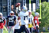 August 1, 2017: New England Patriots wide receiver Tony Washington (17) catches the ball in stride at the New England Patriots training camp held at Gillette Stadium, in Foxborough, Massachusetts. Eric Canha/CSM