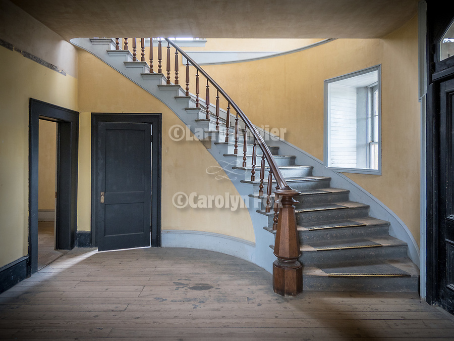 Stairway and banister, Meade Hotel, Ghost town of Bannock, Montana, first territorial capital of the region