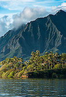 He'eia State Park on the shore of Kaneohe Bay with the Ko'olau Mountains in the background, Windward O'ahu.