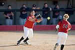 MADISON, WI - APRIL 17: Second baseman Theresa Boruta #14 of the Wisconsin Badgers softball throws the ball to first baseman Alexis Garcia #25 against the University of Illinois-Chicago at Goodman Diamond on April 17, 2007 in Madison, Wisconsin. (Photo by David Stluka)