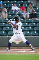 Louis Silverio (15) of the Winston-Salem Dash at bat against the Myrtle Beach Pelicans at BB&T Ballpark on May 11, 2017 in Winston-Salem, North Carolina.  The Pelicans defeated the Dash 9-7.  (Brian Westerholt/Four Seam Images)
