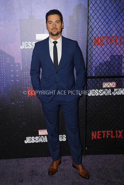 www.acepixs.com<br /> March 7, 2018  New York City<br /> <br /> J.R. Ramirez attending attending Marvel's 'Jessica Jones' season 2 TV show premiere on March 7, 2018 in New York City.<br /> <br /> Credit: Kristin Callahan/ACE Pictures<br /> <br /> <br /> Tel: 646 769 0430<br /> Email: info@acepixs.com