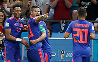 KAZAN - RUSIA, 24-06-2018: Radamel FALCAO jugador de Colombia celebra con James RODRIGUEZ y Johan MOJICA después de anotar un gol a Polonia durante partido de la primera fase, Grupo H, por la Copa Mundial de la FIFA Rusia 2018 jugado en el estadio Kazan Arena en Kazán, Rusia. /  Radamel FALCAO  player of Colombia celebrates after scoring a goal to Polonia during match of the first phase, Group H, for the FIFA World Cup Russia 2018 played at Kazan Arena stadium in Kazan, Russia. Photo: VizzorImage / Julian Medina / Cont