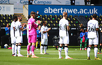 5th July 2020; Liberty Stadium, Swansea, Glamorgan, Wales; English Football League Championship, Swansea City versus Sheffield Wednesday; Swansea City players take part in a minute of applause before kick off