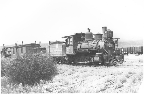 Engine #201 with work train near Gunnison.<br /> D&amp;RGW  Gunnison, CO  8/11/1935