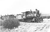Engine #201 with work train near Gunnison.<br /> D&amp;RGW  Gunnison, CO  8/11/1935