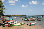 Piaçabuçu, Alagoas State, Brazil. Fishing boats in bay.