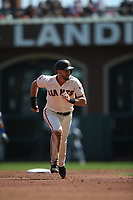 SAN FRANCISCO, CA - APRIL 8:  Evan Longoria #10 of the San Francisco Giants runs the bases against the Los Angeles Dodgers during the game at AT&T Park on Sunday, April 8, 2018 in San Francisco, California. (Photo by Brad Mangin)
