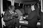 Teenage girls sleeping rough London 1990s. UK. Nuns and helpers from the Catholic Order of Daughters of Charity, provide food and shelter in a nighttime  soup kitchen around London.