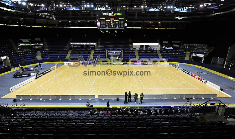 PICTURE BY VAUGHN RIDLEY/SWPIX.COM - Netball - Superleague Grand Final - Bath v Mavericks - Trent FM Arena, Nottingham, England - 15/05/10...Copyright - Simon Wilkinson - 07811267706...Branding, Advertising, Sponsor Boards, GV, General View.
