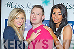 David Kelleher who is looking for the 2012 Miss Kerry with models Jackie Burkley (left) and and Ciara Allen at the launch of Miss Kerry 2012 in the Gleneagle Hotel Killarney on Thursday night..