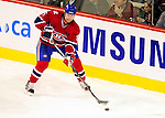 23 January 2010: Montreal Canadiens' defenseman Jaroslav Spacek controls the puck during a game against the New York Rangers at the Bell Centre in Montreal, Quebec, Canada. The Canadiens shut out the Rangers 6-0. Mandatory Credit: Ed Wolfstein Photo