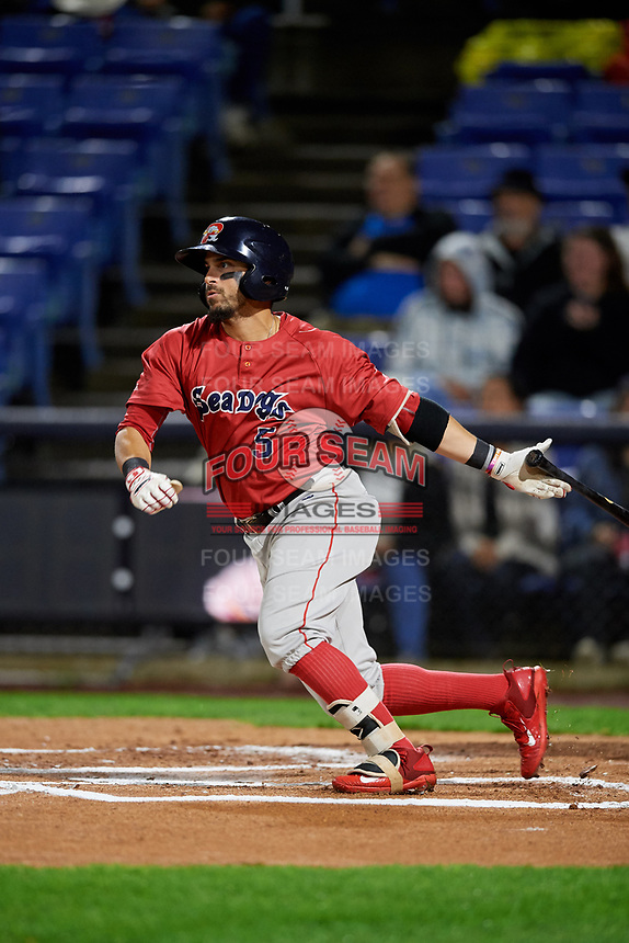 Portland Sea Dogs right fielder Chris Madera (5) gets robbed of a base hit by a diving catch during a game against the Binghamton Rumble Ponies on August 31, 2018 at NYSEG Stadium in Binghamton, New York.  Portland defeated Binghamton 4-1.  (Mike Janes/Four Seam Images)